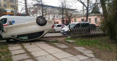 В Симферополе рядом с СИЗО перевернулась легковушка